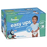 #8: Pampers Easy Ups Training Pants Pull On Disposable Diapers for Boys, Size 4 (2T-3T), 140 Count, ONE MONTH SUPPLY