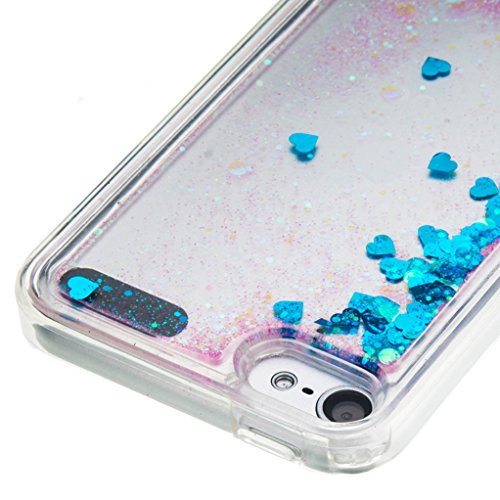Trumpshop Carcasa Funda Protección para Apple iPod Touch 5 (5th Generation) / Touch 6 (6th Generation) + Dont Touch My Phone + TPU 3D Liquido Dinámica Sparkle Estrellas Quicksand Caja Protectora Azul