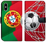 Liili Premium iPhone X Flip Micro Fabric Wallet Case Image ID: 14163144 Soccer Goal Portuguese Flag with a Soccer Ball in a net Vector Illustration