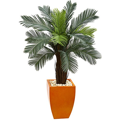 Nearly Natural Cycas Artificial Tree in Orange Planter, 4.5'