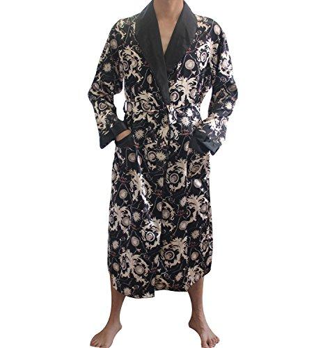 - SexyTown Long Satin Lounge Print Bathrobe Men's Charmeuse Sleepwear with Pockets (Large, C-Black)