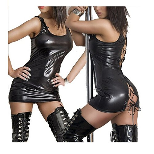 Sexy Corset Mini (Frawirshau Women's Sexy Straps PU Leather Dress Babydoll Miniskirt Set Clubware Black M)