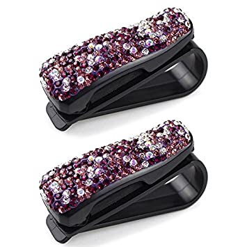 a367261f0d8 Image Unavailable. Image not available for. Color  TOOGOO Auto Fastener Clip  Purple Rhinestone Diamond Car Sun Visor Glasses ...