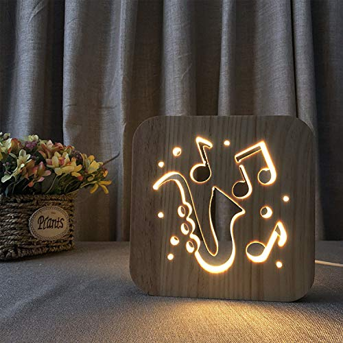 EFGS 3D Wooden Table Lamp, USB Hand-Carved LED Night Light Solid Wood Shadow Light Bedroom Bedside Lamp, Halloween Christmas Valentine's Children's Day Gift(Music)