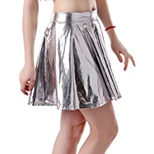 HDE Womens Plus Size Shiny Liquid Skater Skirt Metallic Wet Look Pleated Skirt