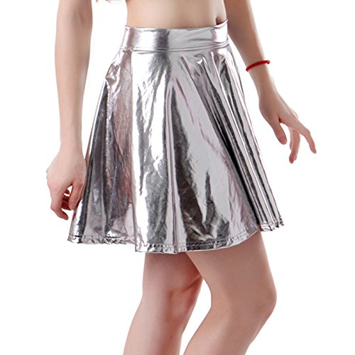 HDE Women's Shiny Liquid Metallic Wet Look Flared Pleated Skater Skirt (Silver, Small) (Disco Themed Clothes)