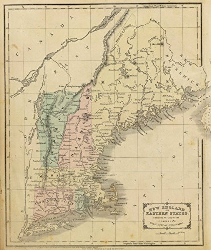 1864 School Atlas | New England or Eastern States. Designed to accompany Cornell's High school geography. | Antique Vintage Map Reprint - Cornell 1864 Antique Map