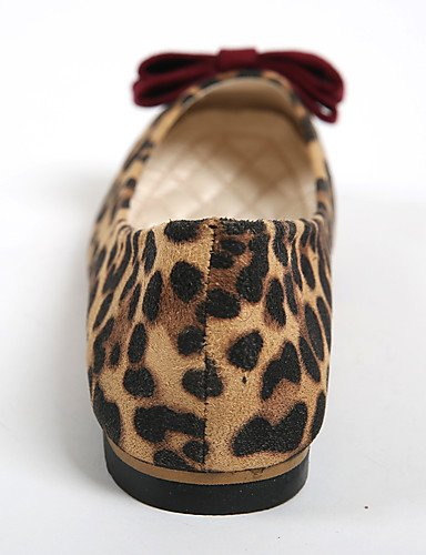 leopardo uk5 Flats punta de comodidad Casual eu38 piel leopard 5 us7 de plano redonda zapatos talón 5 mujer cn38 PDX wq78gT4w