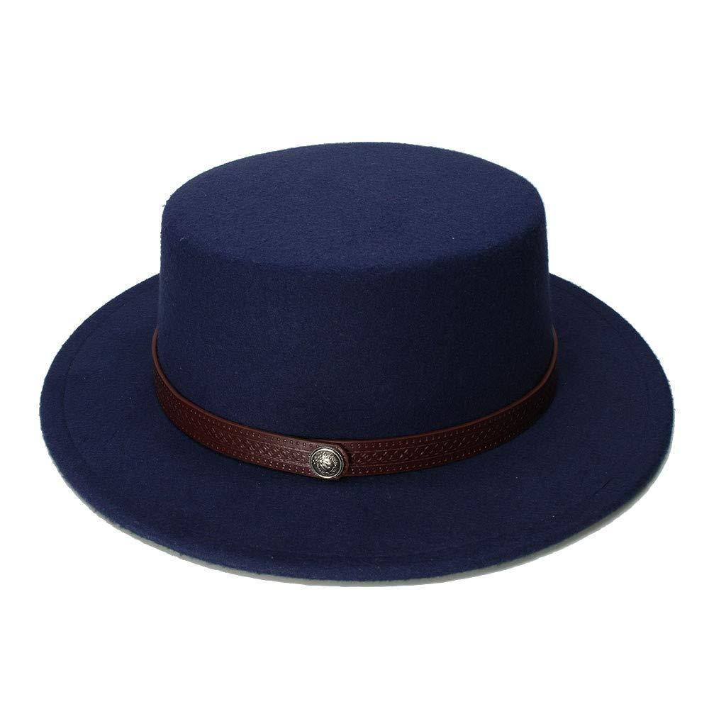 Achun Mütze Retro Kid Vintage Wolle Breiter Krempe Kappe Schweinefleisch Pie Porkpie Bowler Hats Solide Kaffee Lederband