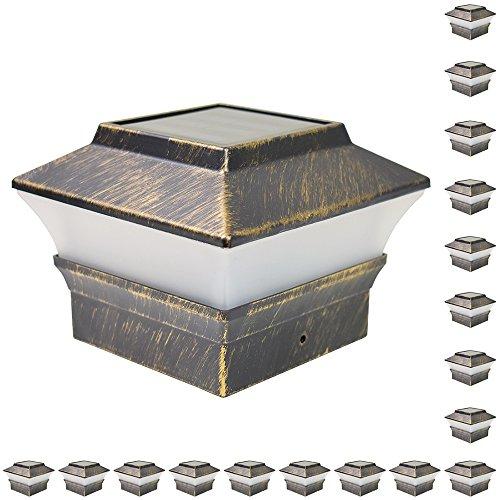 iGlow 18 Pack Vintage Bronze Outdoor 4 x 4 Solar LED Post Deck Cap Square Fence Light Landscape Lamp Lawn PVC Vinyl Wood
