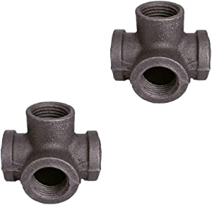 GeilSpace 4-Way, Malleable Iron Pipe Fittings - Vintage DIY Industrial Shelving, Industrial Decor, Furniture DIY (1/2