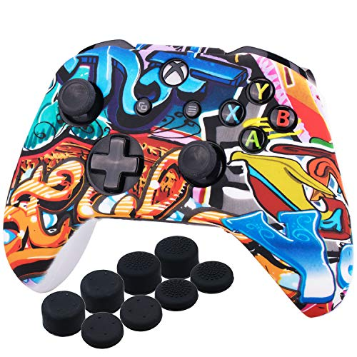 YoRHa Printing Rubber Silicone Cover Skin Case for Xbox One S/X Controller x 1(Comic Graffiti) With PRO Thumb Grips x 8