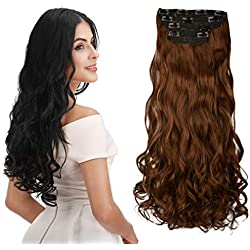 """REECHO 18"""" Curly Wavy 4 Pieces Clip in on Hair Extensions Medium Warm Brown"""