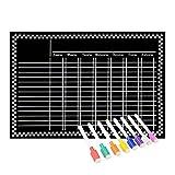 Magnetic Refrigerator Chalkboard (8 Free Markers), Dry Erase Board, Chore, Responsibility, Activity, Reward Star Chart(Black 16inch X 12inch Horizontal Flat Pack)