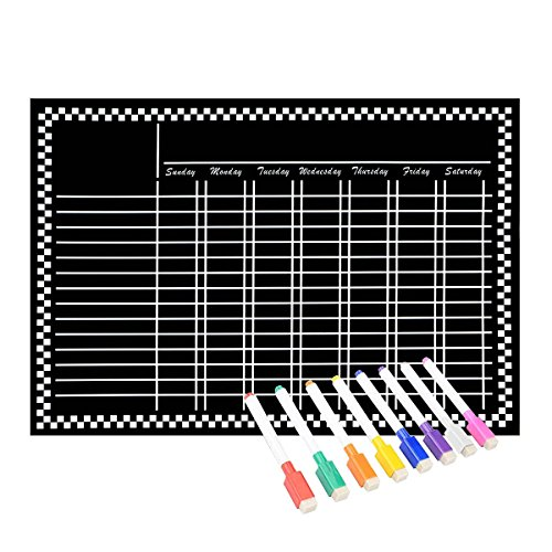 30 Reward Points - Magnetic Refrigerator Chalkboard (8 Free Markers), Dry Erase Board, Chore, Responsibility, Activity, Reward Star Chart(Black 16inch X 12inch Horizontal Flat Pack)