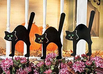 Superbe 3 Pc Black Cat Garden Yard Stakes Halloween Decor *