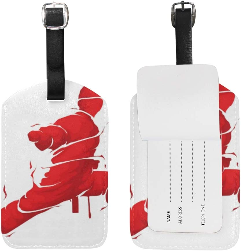 Leather Luggage Tags with Chinese Kongfu Orient Culture Print, Set of 1