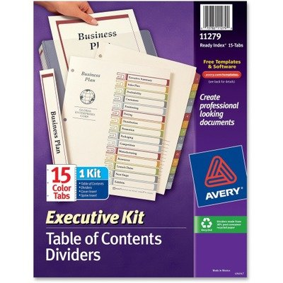 Executive Ready Index Multicolor Table of Contents Dividers, Tabs 1-15, Set - Executive Table Ready Index