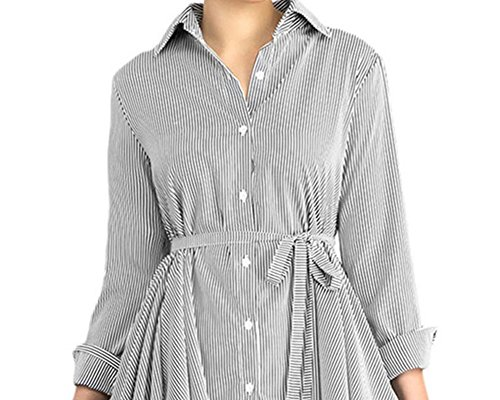 129c4fa56a7 Moxeay Women Long Sleeve Buttons Down Stripe High Low Shirt with Belt