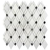 Wallandtile Carrara White Blended Rhomboid Mosaic Tile