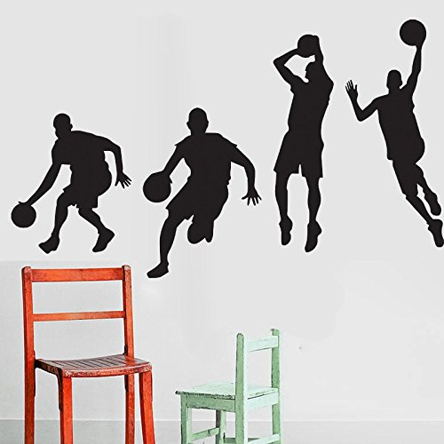 Amaonm® Removable Black Vinyl DIY Basketball Players Shot Silhouette Shooting Dribble Slam Dunk For Kids Children Babys Boys Men Room Bedroom Livingroom Classroom