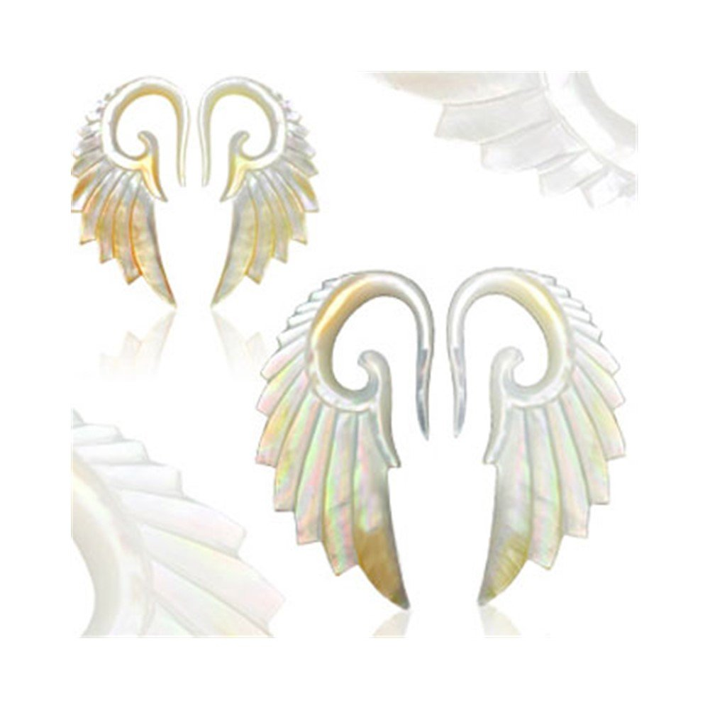 MsPiercing Pair Of Hand Carved Imitation Mother Of Pearl Angel Wing Tapers, Gauge: 10 (2.5Mm) by Mr.Piercing