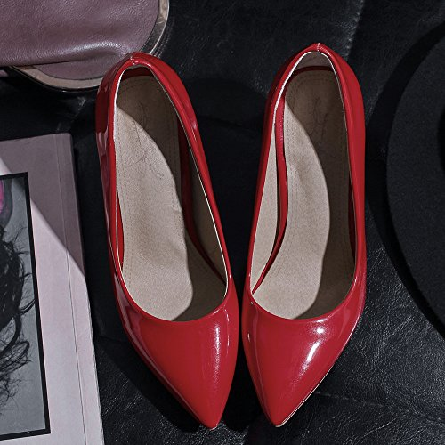 Femmes en Cuir Verni Bout Pointu Talon Aiguille Confortable Slow Slip sur Le Travail Cour Escarpins Pompes Taille Red vfzHF