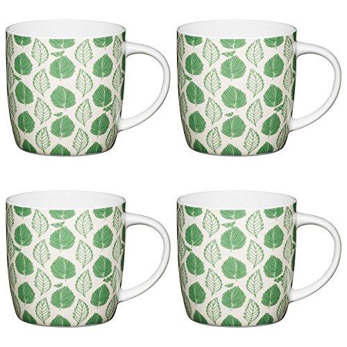 Kitchen Craft Fine Bone China 'Green Leaf' Nature-Patterned Barrel Mugs, 425 ml - Green/White (Set of 4) ()
