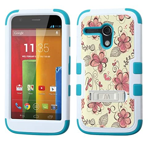 UNQUITI MOTOROLA MOTO G Case - TuMax Hybrid Cover(White TEAL) - DESIGN (Abstract Watercolor Floral) (Water Cover Motorola)