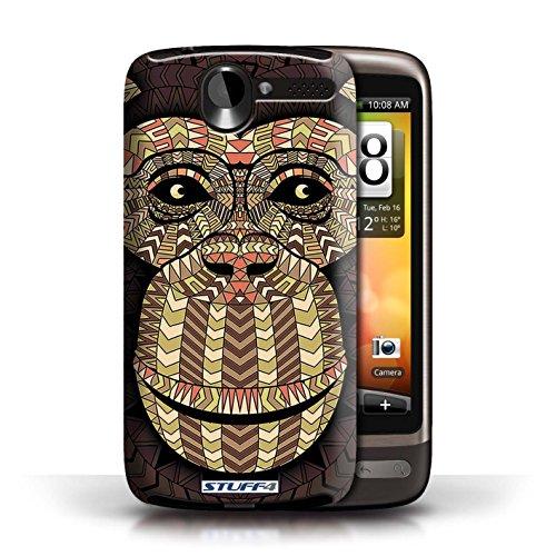 Etui / Coque pour HTC Desire G7 / Singe-Sépia conception / Collection de Motif Animaux Aztec