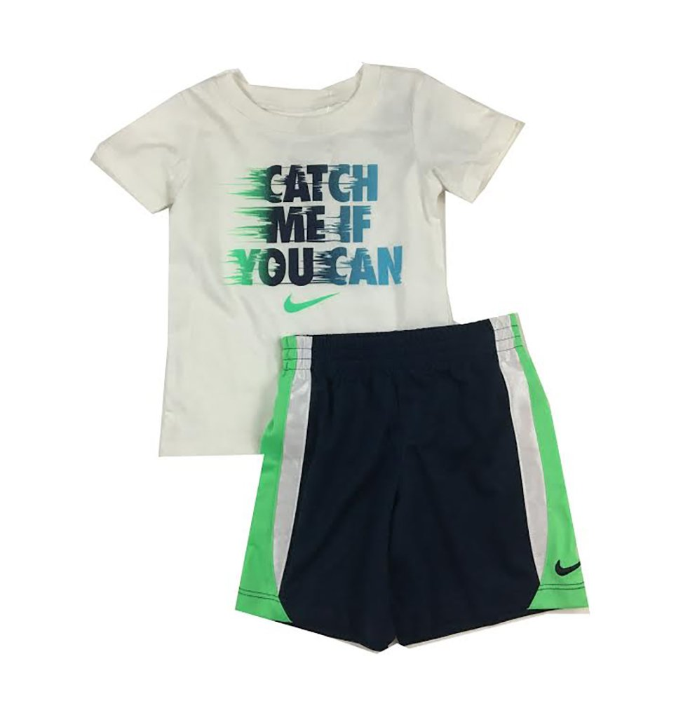 Nike Infant Boys Catch Me If You Can 2 Piece Tee Shirt and Shorts Set White/Navy Size 12 Months