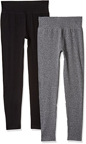 Daily Ritual Women's Seamless Legging, 2-Pack Pants, Black/Charcoal, L by Daily Ritual