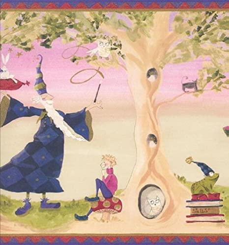 Wallpaper Border Magical Wizard Witch Owl Cat Rabbit Frog