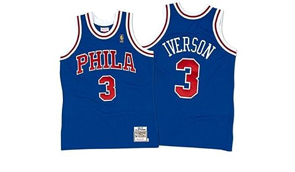 Amazon.com   Mitchell   Ness 72263B296AIVER Men Philly 76ERS Allen Iverson  Nostalgia Blue   Sports   Outdoors 5728bd5d5