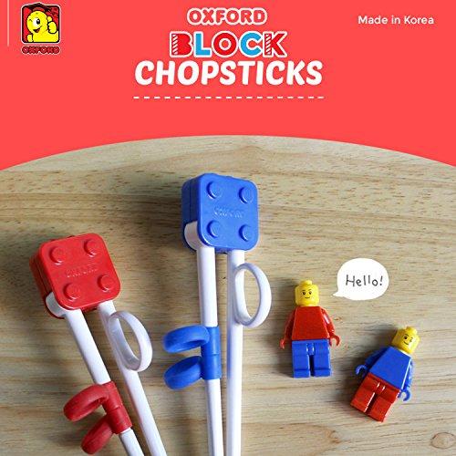 Brick Figure Design Oxford Training Chopsticks Spoon Fork Case Set for Right-hand Children Kids (BlueCaseSpoonForkChopsticks) by OxfordKorea (Image #1)
