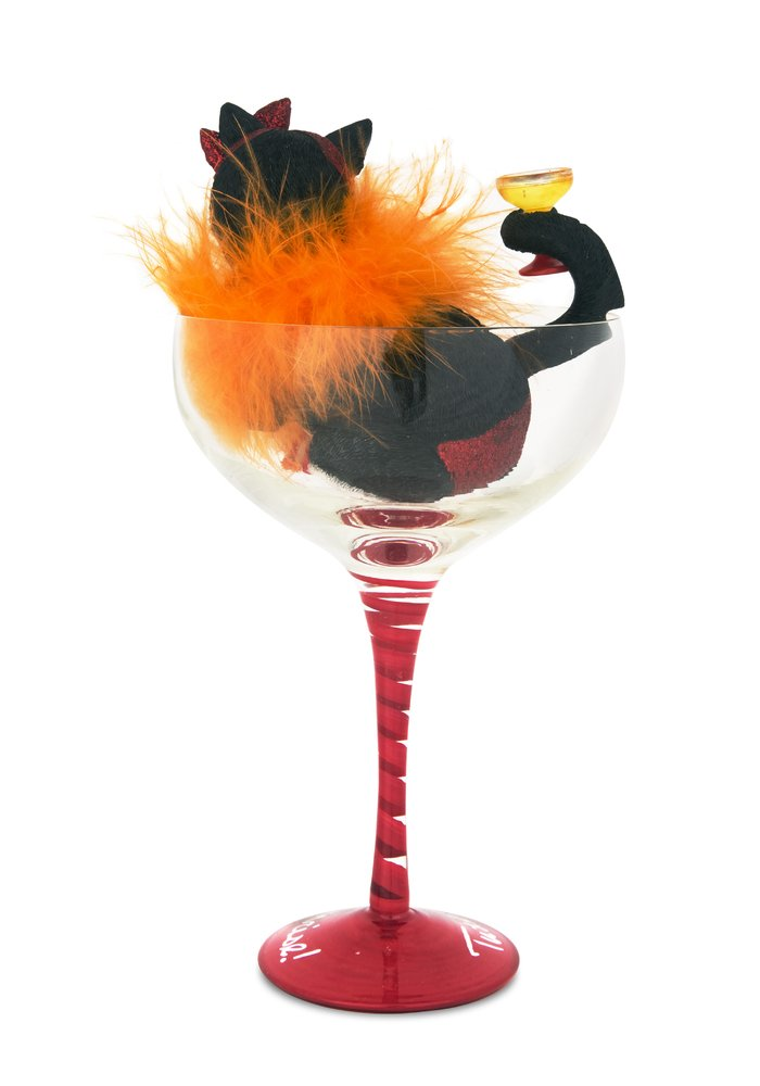 Pavilion Gift Company Hiccup by H2Z 9-1 4-Inch Tuxedo Sunrise Cocktail Glass with Tall B and W Tuxedo Cat