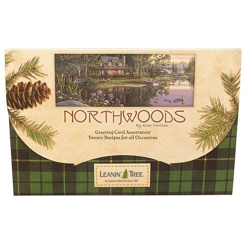 Northwoods by Kim Norlien - Leanin' Tree Greeting Card Assortment - 20 cards with full-color interiors and 22 designed envelopes (Leanin Tree Boxed Cards)