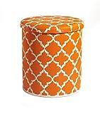 Fab Habitat Handmade Indoor/Outdoor Storage Pouf, Stackable - Tangier, Carrot & White Outdoor