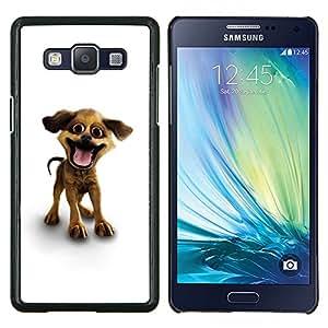 Historieta del perro casero blanco 3D Mascotas Canine- Metal de aluminio y de plástico duro Caja del teléfono - Negro - Samsung Galaxy A5 / SM-A500