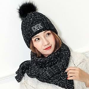 MEI Outdoor Hat Invierno Al Aire Libre Sombrero De Lana Gruesa Traje De Piel Caliente Bufanda Sombrero De Punto Bola,Black