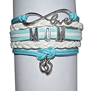 Mom Bracelet, Mom Son Bracelet Makes the Perfect New Mom Gift, Baby Shower Gift or Baby Gift (Blue)