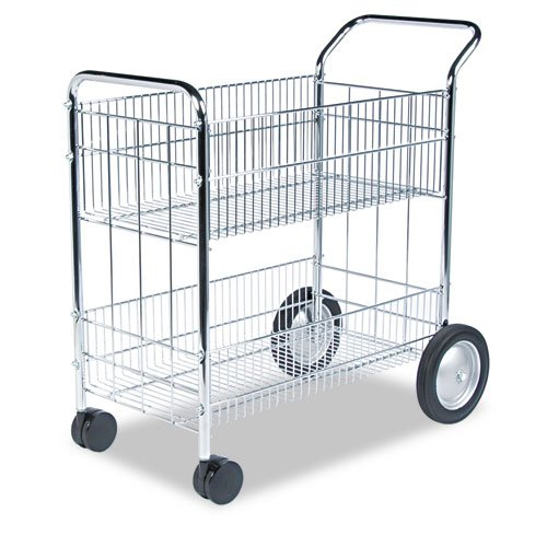 Fellowes : Wire Mail Cart, 150-Folder Capacity, 18 x 38-1/2 x 39-1/4, Chrome Plated -:- Sold as 2 Packs of - 1 -/- Total of 2 Each (Fellowes Wire Mail Cart)