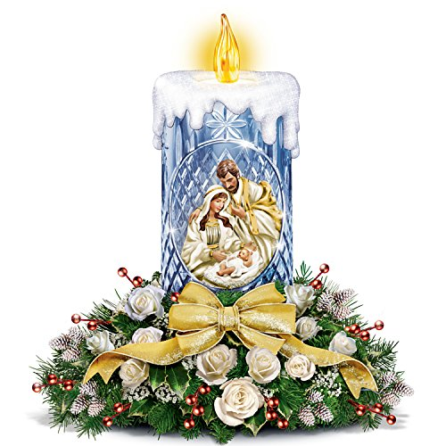 Thomas Kinkade True Meaning Of Christmas Nativity Floral Crystal Tabletop Centerpiece by The Bradford Exchange