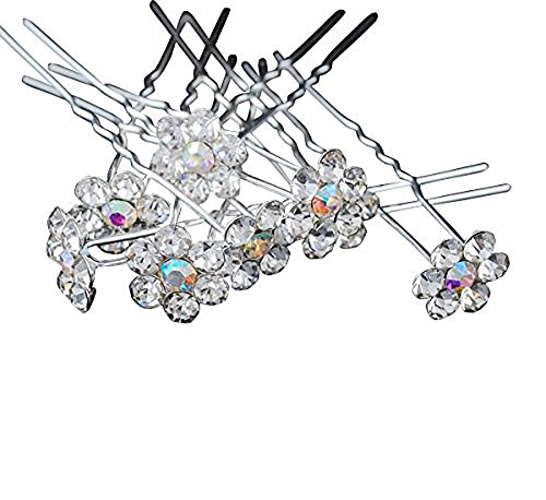 Chenkou Craft Fancy AB Color Rhinestone Flower Wedding Bridal Prom Hair Accessory Hair Pins 24pcs