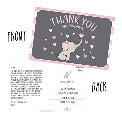 50 4x6 Elephant Girl Baby Shower Thank You Postcards Bulk, Beautiful Pink Modern Cute Boho Blank Thanks Note Card Stationery Appreciation Set Photo #3