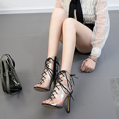 ZHZNVX Early Spring boots fashion transparent film of Octopus nozzle boots cold boots fine with the dew-toe ladies boot high heels Black rdJIyH9t