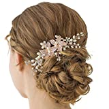 SWEETV Rose Gold Crystal Wedding Hair Comb Rhinestone Side Comb - Handmade Flower Hair Accessories Head Pieces for Women