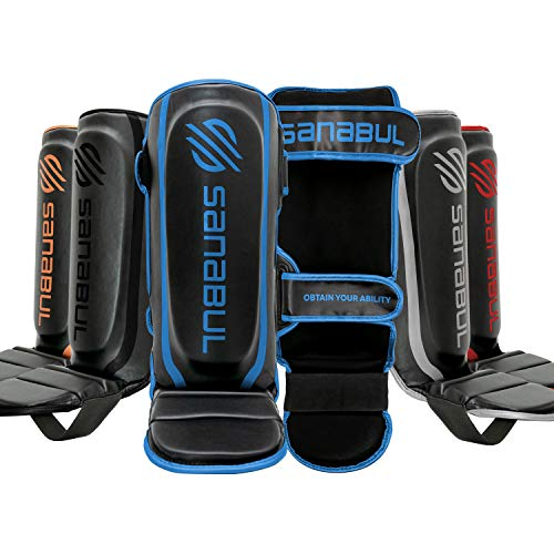 Sanabul Essential Hook and Loop Strap Kickboxing Muay Thai MMA Shin Guards (Metallic Blue, S/M)