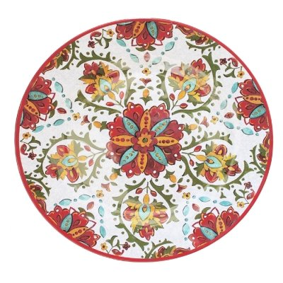 """Le Cadeaux Red Allegra French Design Serving 16"""" Coupe Oval Platter"""