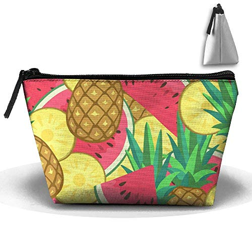 Pineapple Watermelon Waterproof Trapezoidal Bag Cosmetic Bags Makeup Bag Large Travel Toiletry Pouch Portable Storage Pencil ()